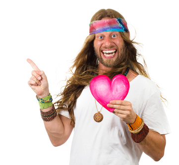 Funny hippie man holding a love heart and pointing up.