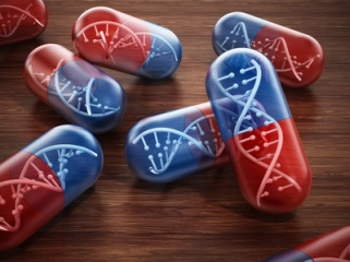 DNA helix inside pill capsules