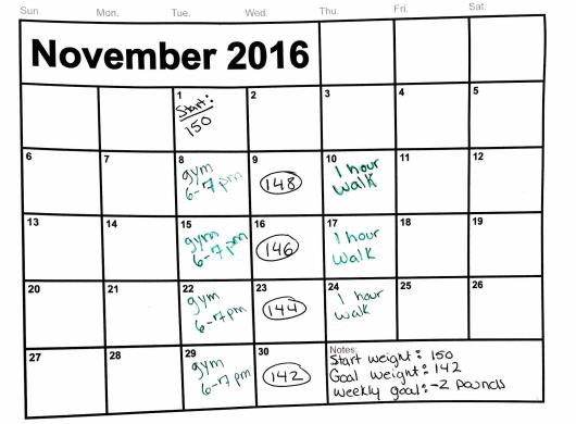 weight loss plan calendar